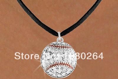 Free shipping 20pcs a lot shiny baseball sport leather necklace jewelry(China (Mainland))