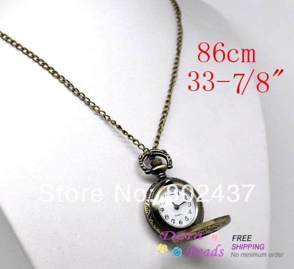 """Bronze, ton. collier de quartz montre de poche batterie inclus( boîtier de la montre: chiffres arabes) 86cm( 33- 7/8""""), 1 pcs( b12532)"""