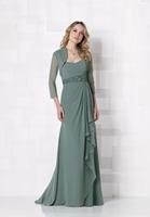 J0084 Free Jacket Green Chiffon Draped Waistband Beading Pleat Long Ruffles Tullemothers dresses for beach weddings 2014