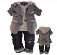 Retail 1 set spring autumn children boys' 3pcs casual clothing suits coat + hoodies + jeans