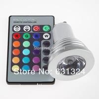 5sets/lot 3W RGB LED Bulbs GU10 85~265V RGB Spotlight bulb HK post free shipping