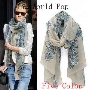 Spring 2014 New Nice Scarves & Wraps Vntage Blue Chiffon Silk a Scarf Skull Fashion Cotton For Woman Free Shipping(China (Mainland))