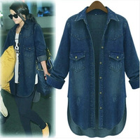 Plus size clothing 2014 spring  basic all-match denim shirt loose outerwear cardigan,women clothing,XL-2XL-3XL-4XL.free shipping