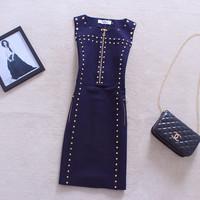 2014 Autumn And Winter Women fashion Europe And America Star Vintage Rivet Zipper Sleeveless Sundress Pencil Skinny Dress