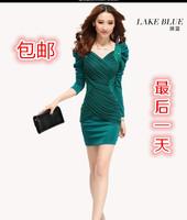 2014 spring fashion women's lantern sleeve slim long-sleeve autumn and winter basic sexy one-piece dress slim hip