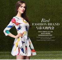 2014 spring fashion print o-neck fashion slim three quarter sleeve one-piece dress basic skirt