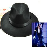 F0536 Michael Jackson Hats Black Felted wool Fedoras Wide brim hat Unisex Jazz Dance hats wholesale hot sale