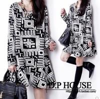 2014 spring fashion women's plaid long-sleeve ruffle short loose dress basic skirt one-piece dress