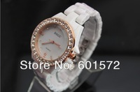25pcs/lot freeshipping Freeshipping new arrival Fashion design ceramic band women's watch with square crystal