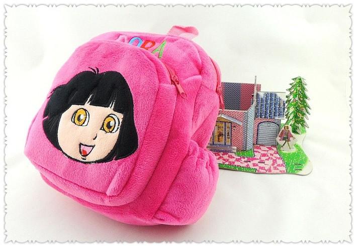 5pcs / lot frete grátis Dora The Explorer Sr. Rosto Plush Backpack Shool Saco Roxo Criança Bag Atacado Best Gift # B1000(China (Mainland))