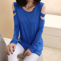 All-match long-sleeve modal T-shirt modal women's slim double strapless top hot-selling comfortable cotton modal soild color