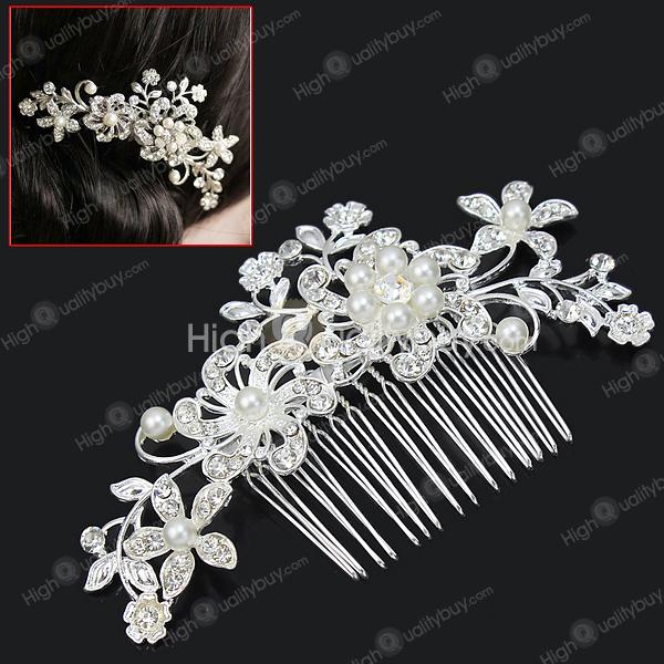 Charm Bridal Wedding Party Silver Crystal Rhinestones Pearls Women Hair Comb Clip Hot