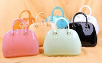 new arrival famous brand women's summer trendy fashion unique shell shape colorful jelly candy transparent set bag handbag tote