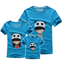 Hot sales Family fashion summer clothes for three/four families short-sleeve Polar bear hat T-shirt wholesale TB_84_Blue