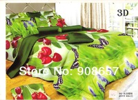 2014 spring bedding sets cotton bed linen bedclothes queen full quilt comforter bedspread red cherry fruit green printed sheets