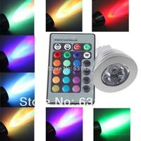 20sets/lot 3W MR16 RGB LED Light Bulb 16 Colors Spotlight Bulb LED Lamp 85-265V HK Post Free shipping