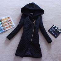 Women's cotton-padded jacket fashion zipper slim elegant plus size long design with a hood female wadded jacket