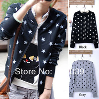 Who Free shipping New Fashion Dots Stars Girl Women Long Sleeve Spring Autumn Zipper Top Coat I2159
