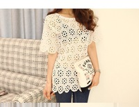 2014 New Popular Women Lace Shirt Blouse Short Sleeve Summer Tops Hollow Out Floral Hem Lady Loose Lace T Shirt White/Black