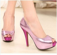 Free shipping, 2014 new fashion casual PU high heels platform sexy pumps Peep toe shoes sapatos for women mlan955.