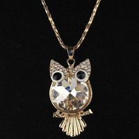 Free Shipping Charming  Women New 14k Gold Filled  White Owl  Austrian Crystal Party Travel Gift  Sweater Chain Necklace Jewelry