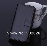 200pcs/lot Wallet Genuine Leather Case With Credit Card Slot For HTC ONE 2 M8