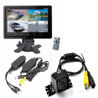 "7"" TFT LCD HD Screen Car Monitor+Wireless Backup Parking Night Vision Camera"