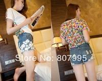 Free Shipping Korean version was thin Slim pearl lace flower hole Womens denim shorts