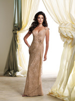 J0161New Arrival Champagne Sleeves Full Lace Beads Ruffles Draped Tulle Flowers mother of the bride evening gown