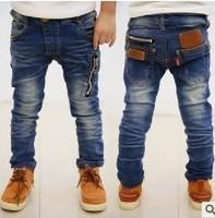 wholesale--5pcs/lot new 2014 spring zipper design children's boys jeans denim long pants
