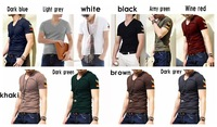 Field service uniforms the special personality sleeve T-shirt Men's cultivate one's morality short sleeve v-neck t-shirts XXL