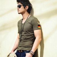 Military style explosion models Korean men Slim V-neck T-shirt factory wholesale