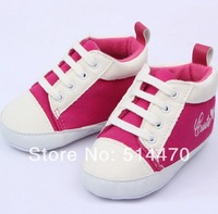 Hot brand babygirl shoes first walkers prewalker lace-up soft-soled canves sneakers #0370 wholesale!