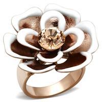 Designer New Finger ring Flower Rose gold rings Austrian crystal Bijoux women Birthday Party Wholesale Gifts