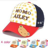 2014 Children Baseball Hats Letter With Little bear Printed Patchwork Baseball Caps Kids Accessories Free Shippnig 5 PCS