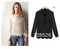 Women's Blouse 2014 Spring New Fashion Ladies Girls Lace Blouses Shirts Long Sleeve S-XXL White Black Women's Clothing Blouse