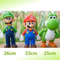 "Shiny 3pcs/set  9""/ 23 cm Super Mario good quality action figure Mario& Luig& Yoghi"