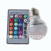 5sets/lot RGB LED Bulb 3w E27/E26 RGB LED 16Colors 85-265v +24 key remote controller