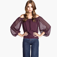 XS - XXL Plus Size Bohemia Short Chiffon Shirt  Three Quarter Sleeve Sheer Blouse 2014 Female Spring Summer New Fashion