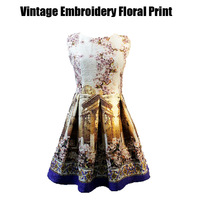 2014 Spring fashion European new arrival casual sleeveless cute floral print elegant Vintage Baroque embroidery princess dress