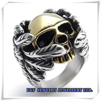 Huge 316L Stainless Steel Ring Men Silver Gold Skull Gothic Wings Heavy Biker US Size 8,9, 10, 11, 12,13 Free shipping,R#69