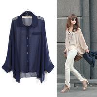 Women Sheer Shirt, Female Long-sleeve Large Loose Chiffon Shirt, 2014 Spring Summer Autumn New Fashion Button-up Blouse Tops Tee