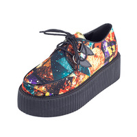 2014 Spring New women Creepers Shoes Galaxy Flats Shoes Shoelace PU Leather Platform Punk Rock Shoes