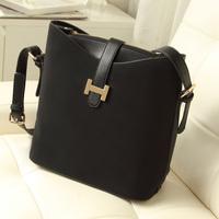 2014 female bags girls cross-body  small bucket bag scrub women's lather bag