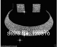 Wholesale>>>New Jewerly 5 Rows Wedding Bridal Party crystal Necklace Earring Silver Plated