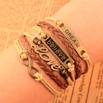 Design believe dream love Infinity cross bracelet Charm Leather Multilayer Bracelet ...