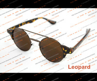 Star models retro sunglasses men round concave shape mirrors the influx of women fashion Leopard Prince Prince mirror pink box