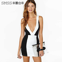 Smss fashion sexy slim hip black and white color block deep V-neck low-cut slim one-piece dress