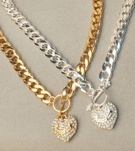 Thick chain gold and silver color i love you letter heart pendant necklaces for women gifts short design free shipping