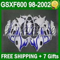 +Fairing Pearl White For SUZUKI KATANA GSXF600   26C155 Blue flames GSX600F GSXF 600 1998 1999 2000 2001 2002 98 99 00 01 02